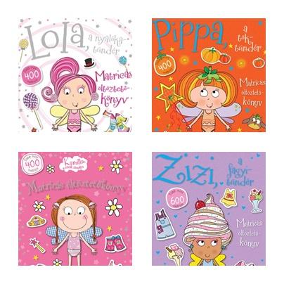Nyalóka-, tök-, sütik és fagyitündér - matricás öltöztetőkönyvek lányoknak