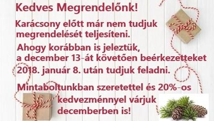 A december 13. után beérkezett rendeléseket